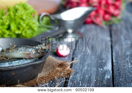 Fresh Sardines. Fish With Vegetables.