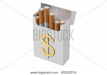 Cigarettes Pack With Sign Dollar
