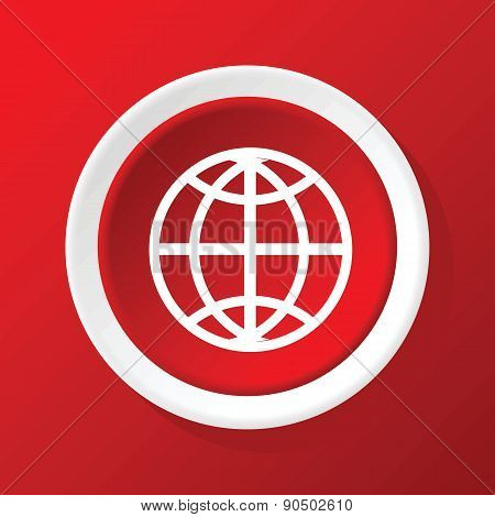 Globe icon on red