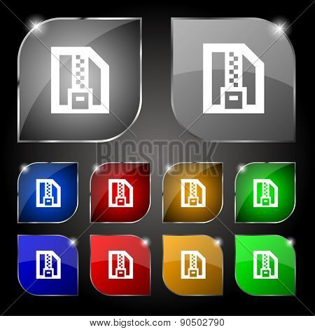 Archive File, Download Compressed, Zip Zipped Icon Sign. Set Of Ten Colorful Buttons With Glare. Vec