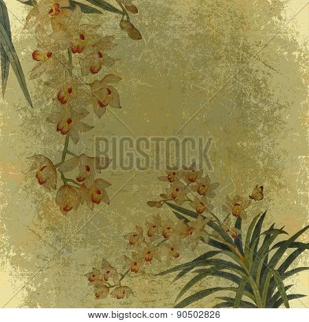 Grunge paper with flowers