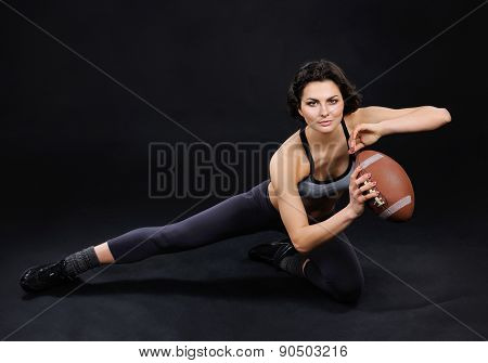 Athletic Brunette Girl With Ball