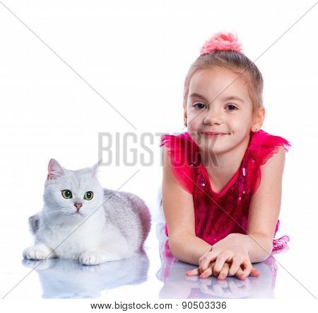Girl with his cat
