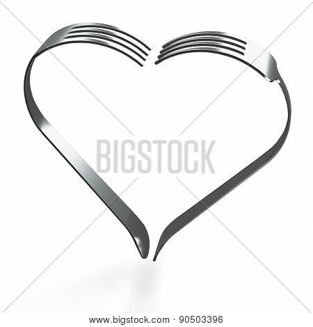 Forks Heart On Wood Background