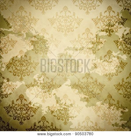 Vintage Paper With Damask Patterns.