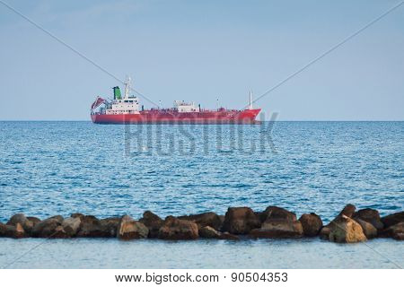 Ship In Mediterranean Sea Near Cyprus