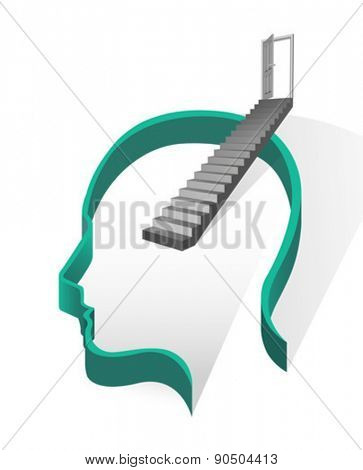 Digitally generated stairs coming out of head