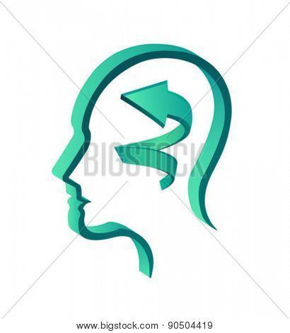 Digitally generated head with arrow