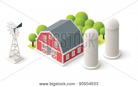 Isometric icons representing barn, windmill and silos