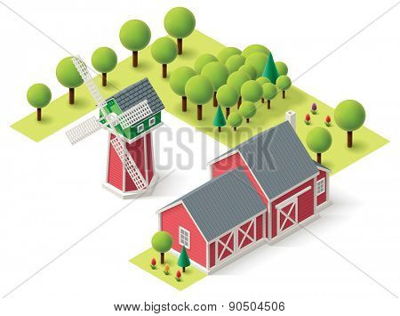 Isometric icons representing windmill and barn