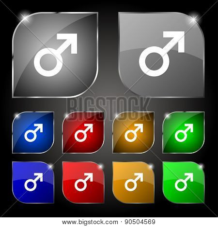 Male Sex Icon Sign. Set Of Ten Colorful Buttons With Glare. Vector