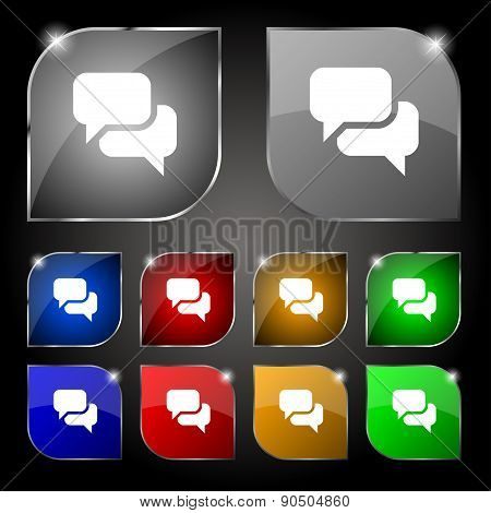 Speech Bubble, Think Cloud Icon Sign. Set Of Ten Colorful Buttons With Glare. Vector