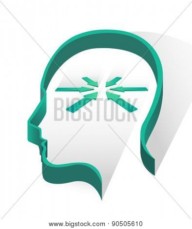 Head with arrow pointing on white background