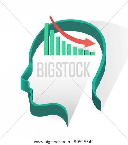 Head with bar chart and arrow on white background