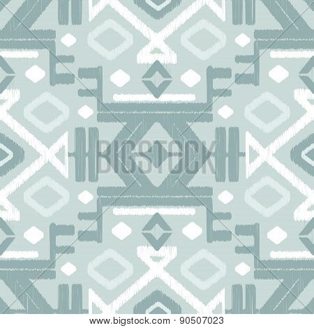 Vector silver gray ikat seamless pattern background