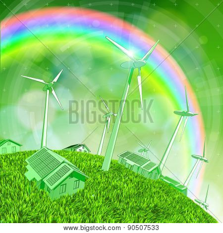 Environmental idyll - a house with solar panels, wind generators, green grass of the earth and the rainbow in the sky / vector illustration