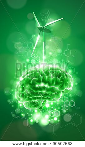 ecology concept: brain & windmill, green bokeh abstract light background  / vector illustration / eps10
