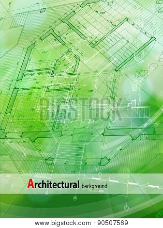 Architecture design: blueprint house plan & green technology radial background - vector illustration
