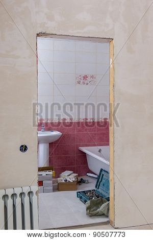 View Of Bathroom Through Doorway At Construction Site