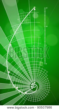 Golden Ratio Symbol (Golden Proportion) & green ecology background / vector illustration / eps10