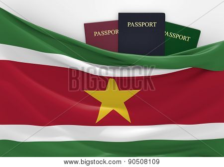 Travel and tourism in Suriname, with assorted passports