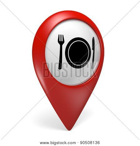 3D red map pointer icon with a food symbol for restaurants and diners