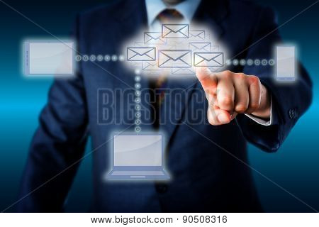 Manager Touching A Host Of Emails In Cloud Network