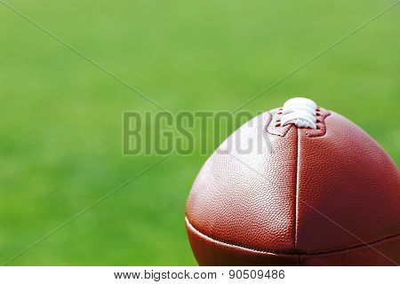 Rugby ball on close up