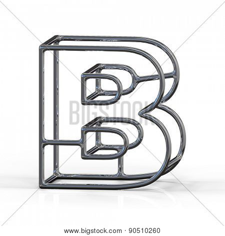 3D alphabet, metal letter B isolated on white background