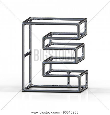 3D alphabet, metal letter E isolated on white background
