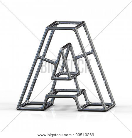 3D alphabet, metal letter A isolated on white background