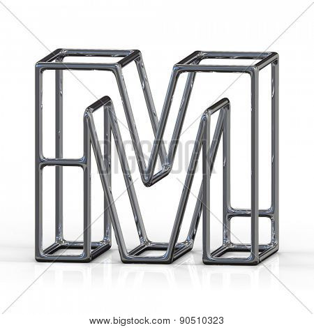 3D alphabet, metal letter M isolated on white background
