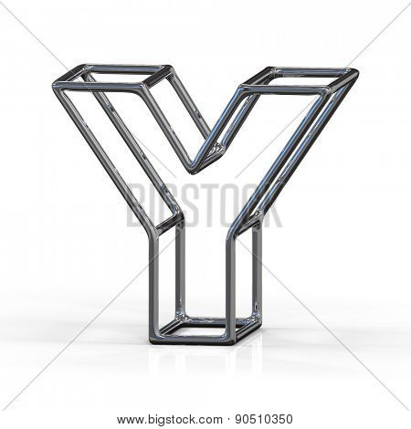 3D alphabet, metal letter Y isolated on white background