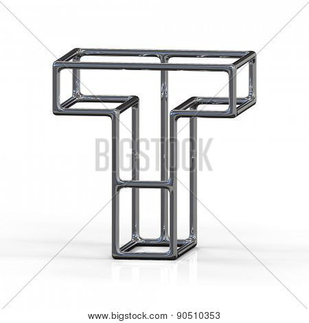 3D alphabet, metal letter T isolated on white background