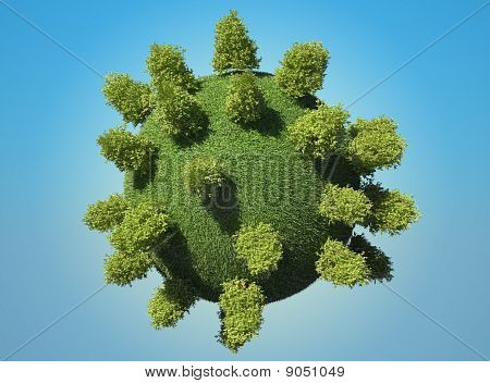 Abstract Green Earth Planet With Trees