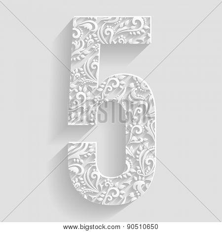 Number 5. Vector Floral Invitation cards Decorative Font