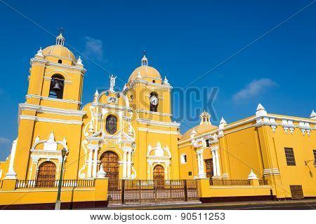Yellow Cathedral In Trujillo, Peru