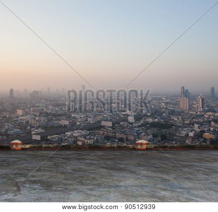 city scape from building roof in heart of bangkok capital thailand