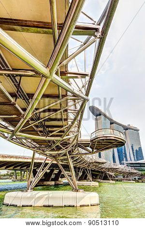 Hdr Rendering Of The Helix Bridge In Singapore