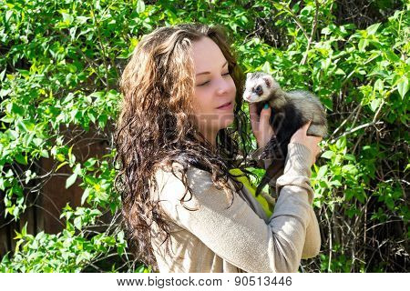 The Girl With The Polecat In Hands