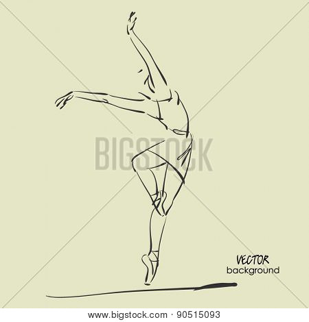 art sketch of beautiful young ballerina in tights in ballet pose in class. Vector illustration