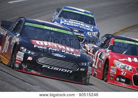 Richmond, VA - Apr 24, 2015:  Greg Biffle (16) brings his race car through the turns during a practice session for the Toyota Owners 400 race at the Richmond International Raceway in Richmond, VA.