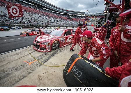 Bristol, TN - Apr 19, 2015:  Kyle Larson (42) brings his car in for service during the Food City 500 at Bristol Motor Speedway in Bristol, TN.