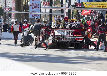 Long Beach, CA - Apr 18, 2015:  The Wheelen Chevrolet pits during the Tequila Patron Sports Car Racing Showcase at Long Beach Grand Prix in Long Beach, CA.