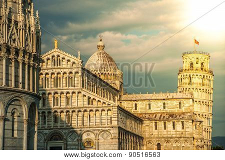 Leaning tower, Baptistery and Duomo, Piazza dei miracoli, Pisa,