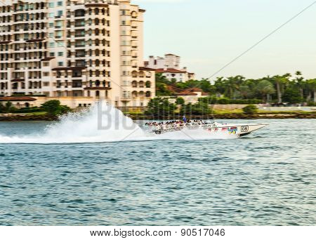 Tourists Enjoy The Speedboat Trip