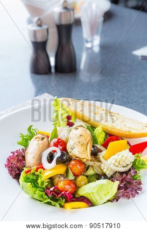 Greek Seafood Salad bowl cuisine