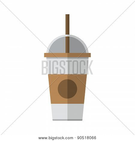 Coffee Cup With Straw Vector Illustration