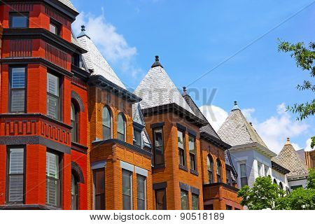 Row houses on a sunny day in Washington DC USA.
