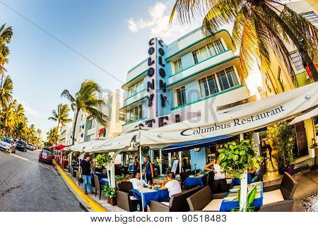View At Ocean Drive  With Colony Hotel In Miami In The Art Deco District